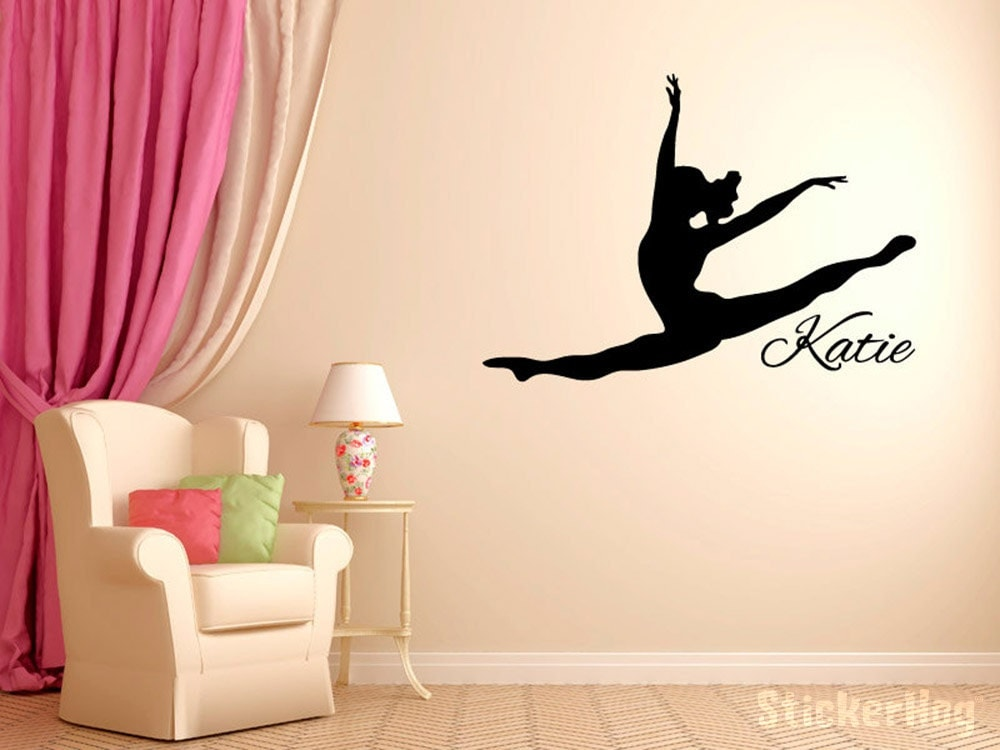 Personalized Leaping Dancer Wall Decal Vinyl Sticker Dance - Custom vinyl wall decals dance