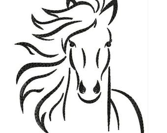 Horse Sketch Machine Embroidery Designs - Applique Embroidery Design 29