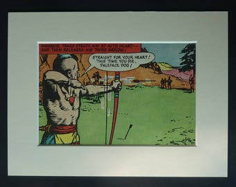 1950s Vintage Archery Print, Native American Decor, Available Framed, Frontier Art, Boy's Nursery Picture, Kit Carson Wall Art, Archer Gift