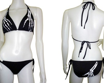 Black Skeleton Tattoo Bikini - Size 8 10 12 - Psychobilly Punk Rock Swimsuit Gothic Goth Alternative Rockabilly Metal