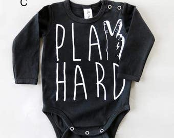 Play Hard Tattoo Hand Long Sleeve Baby Grow - Unisex Alternative Anchor Rockabilly Bodysuit 0-3, 3-6, 6-12 month