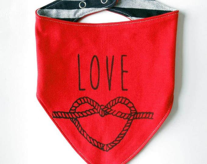 Reversible Love Sailors' Knot Baby Bib - Unisex Stripes Alternative Anchor Nautical Tattoo Boys Dribble Cloth Red