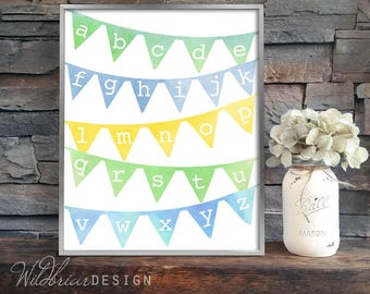 Printable Nursery Wall Art, Watercolor alphabet banner, 8x10, kids room, playroom green blue yellow pennant abcs; INSTANT DOWNLOAD