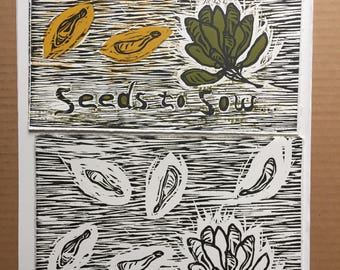 helicopter seeds - woodcut print
