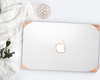 White Arctic Alligator Leather and Rose Gold Edge Detailing Hybrid Hard Case for Apple Mac Air & Mac Pro Retina - Platinum Edition