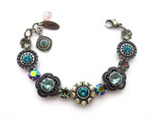 Swarovski Crystal Bracelet, Blue, Black Diamond, Mixed Size Crystals, Ornately Detailed Flowers, Roxanne, Siggy Jewelry, FREE SHIPPING