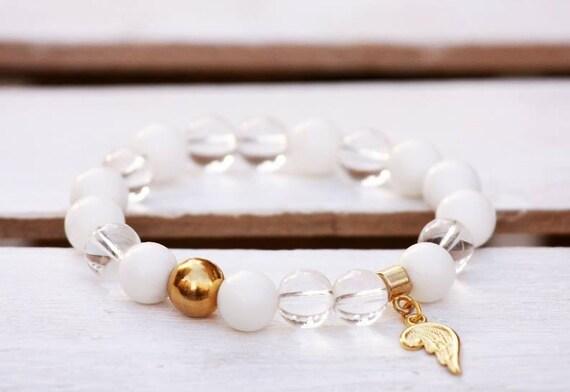Agate bracelet, Mountain crystal bracelet, Stainless steel bracelet, Gemstones bracelet, Angel wing bracelet, Talisman bracelet