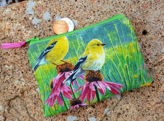 Bird Coin Purse, Zipper Wallet, Change  Purse
