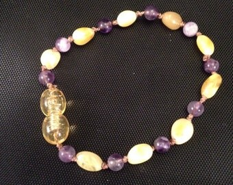 Champagne Baltic Amber and Rose Quartz Teething Anklet/Bracelet 6 inches
