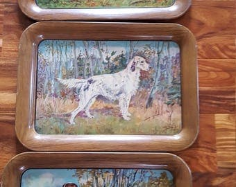 Vintage Set Of Three Trays Dogs Metal 1940 Springer Spaniel Hunting Pointer Dog