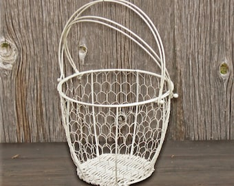 Vintage Gathering Basket, Chippy white paint wire basket, Farmhouse Decor Egg Basket