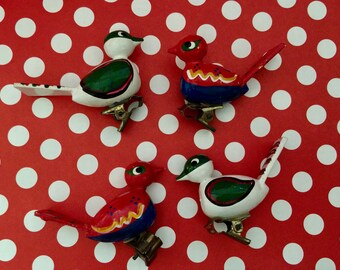 Vintage Bird Clip Ornaments, Clip On Birds, Folk Art, Swiss