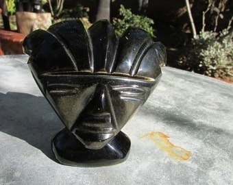 Carved Stone Sculpture Aztec Warrior Face gold flecked onyx Mexico