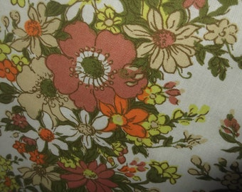 Retro Fabric , Mid Century Fabric, Orange Floral Fabric, Vintage Fabric, Kitsch Fabric