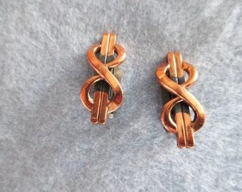 Vintage 1950 Renoir Copper Clip Earrings - Estate find!