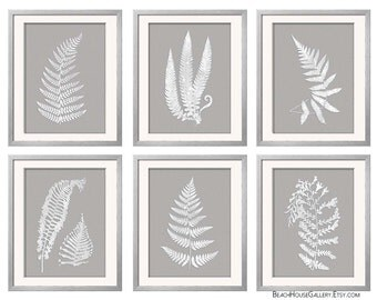 Gray White Wall Art, Fern Botanical Prints, Grey Wall Art, Grey Fern Prints
