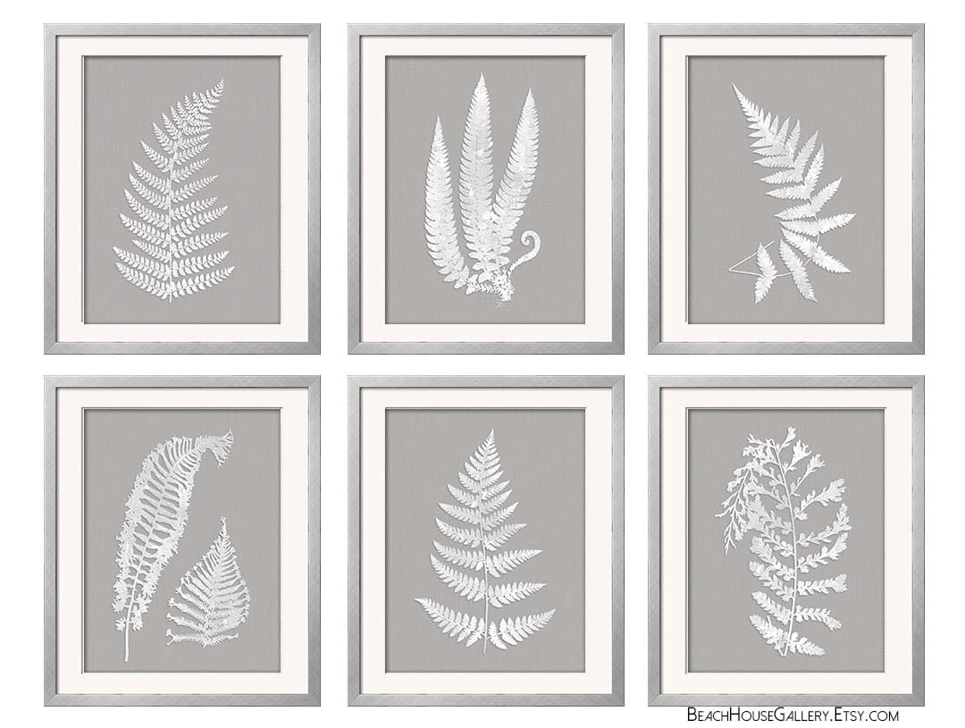 Grey And White Wall Art gray white wall art fern botanical prints grey wall art
