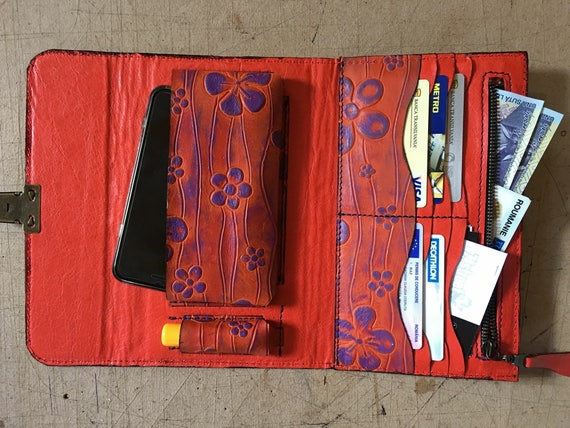 Leather wallet, Phone wallet, Lipstick wallet, Woman leather organiser,oversized ladies wallet,gift for her, birthday gift,  Hand Bag