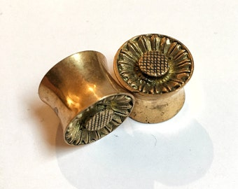 Brass Tunnels, Sunflower Earrings, Sunflower Jewelry, Brass Plugs, Brass Earrings,
