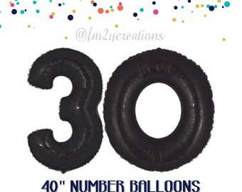 30th Birthday Number BLACK Balloons | Straight Outta My Twenties | 30th birthday for Him | Dirty 30 | Black 30th Birthday Balloon Banner