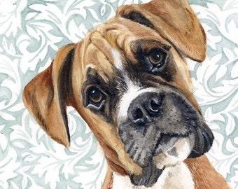 Boxer Watercolor Painting, Animal Art, Boxer Painting, Boxer Watercolor, Boxer Art, Dog Art, Boxer, Boxer Decor, Boxer Print, Art, Boxer Dog