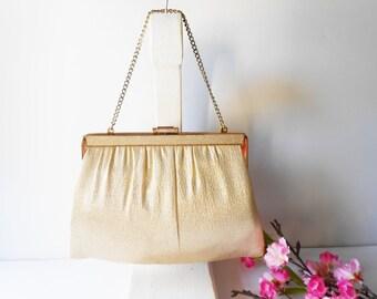 Gold Evening Bag, Vintage Evening Bag, Gold Metallic Bag, Evening Purse, Gold Clutch Bag,Gold Metallic Purse, Gold Handbag EB-0079