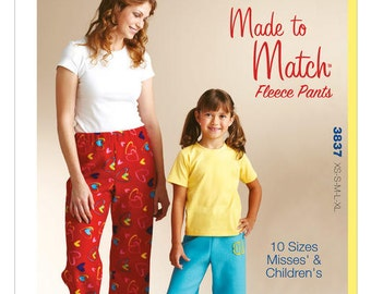 Kwik Sew 3837 Misses'/Girls' Made-to-Match Fleece Pants Sewing Pattern, New Uncut Pattern fits Misses & Childrens Xs-XL, 10 sizes in all