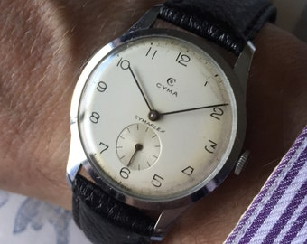 Slim 1950s Cyma Cymaflex vintage 17 Jewel Swiss watch
