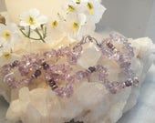 "Vintage Necklace of Polished Amethyst Chips, Beads, And Silver Tone Findings, 18"", Handcrafted"