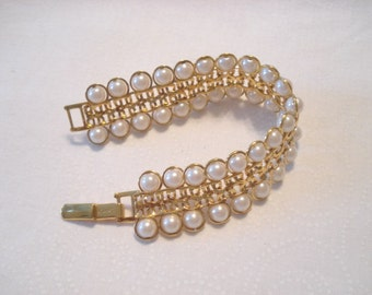 Vintage AVON Bracelet Two Strands Faux Pearls Gold Tone