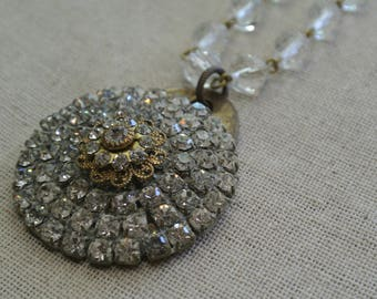 Vintage Rhinestone Necklace, Pendant, Repurposed Brooch, Eclectic Rhinestone and Brass Tag, Great Gift, One of a Kind By UPcycled Works