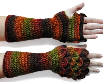 Long Dragon Scale Gloves / Mitts with Thumb Holes and Flat Palms (Handmade) [ Mittens / Wrist warmers / Fingerless Gloves ]