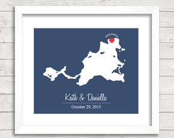8x10 Saint Martin Love Map - Anse Marcel, Saint Martin - Caribbean - Destination/Beach Wedding - Eloped - Paper Anniversary - Mr and Mrs