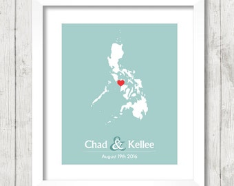 8x10 Philippines Love Map - Boracay, Philippines - Western Visayas - Southeast Asia - Destination/Beach Wedding - Paper Anniversary-Filipino