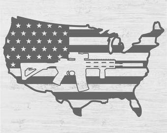 Us Map Flag Ar 15 Decal T Shirt Vinyl Car Truck Window Decal Sign