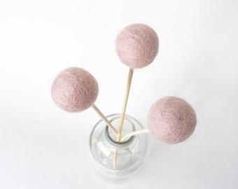 Felt ball flowers, pom pom decor, billy buttons, pom pom flowers, pink flowers, felt decor, felt billy balls, faux flowers, nursery decor