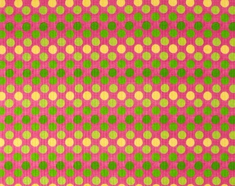 Pick Your Yardage Yard  Pink/Green/Yellow Polka Dots Fabric