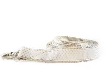 Ivory Metallic Swiss Dots Dog Leash  - Wedding Leash -  Silver and Cream Metallic Polkadot Ribbon and Nylon Dog Leash - Wedding Dog Lead