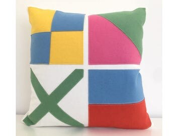 Nautical Flag LOVE Pillow in pink, green, yellow and blue