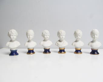 6 Vintage miniature Sculptural French Children Busts in Biscuit Porcelain Houdon Brongniart Romantic cobalt blue Height 3.8 in / 9.5 cm