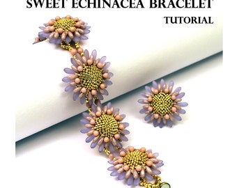 Sweet Echinacea Bracelet - PDF beading tutorial - Instant Download