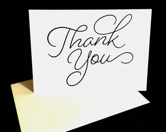 White Thank You Notecard Set, Customer Thank You, Hostess Thank You, Etsy Seller Customer Notecards, Handstamped Thank You