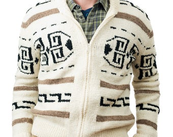 Men's cardigan sweater Dude style costume hand knit wool Cowichan style men's zip winter sweater