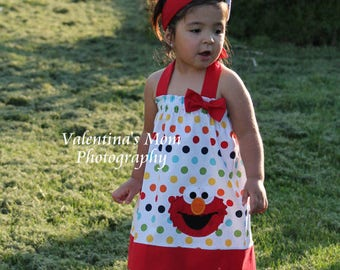 Super Adorable Elmo in rainbow polka dot halter style dress