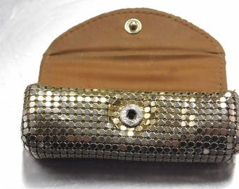 Gorgeous Antique Lipstick Case Whiting and Davis Silver Metal Mesh Snap Closure