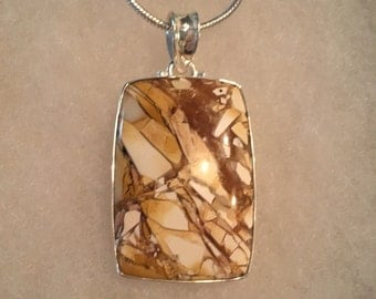 Brecciated Mokkaite Gemstone Pendant in Sterling Silver Setting Fall Holiday