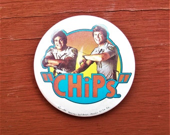 Vintage 1980 Chips TV Show Pin back Button
