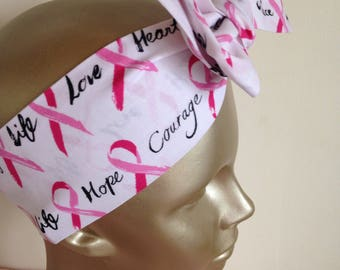 Pink Ribbon Breast Cancer Awareness Headband Survivor Headwrap