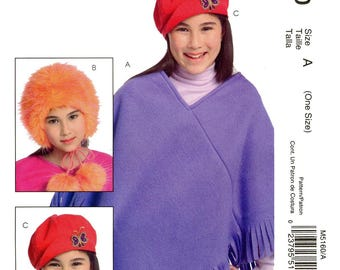 Girls' Accessories - Poncho in M-L-XL & Hats in S-M-L sizes - McCall's 5160 Easy Stitch 'N Save Sewing Pattern