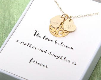 Mother's Day Family Tree Necklace, Thee of life necklace, Custom Necklace, Hand Stamped Jewelry, Personalized Necklace, Mother's Day gift